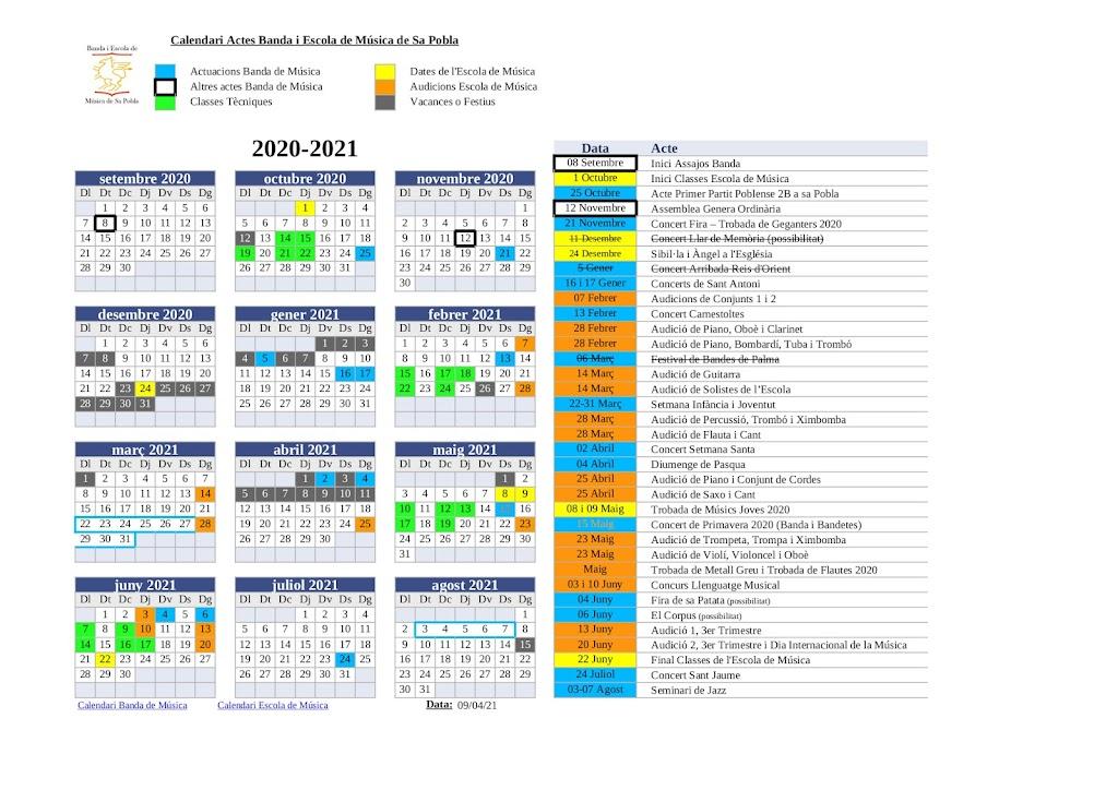 Calendari Actes de l'Associació, Curs 2020 – 2021